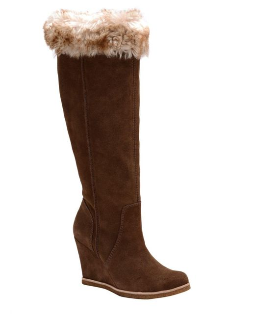 Splendid | Brown Tatum Suede And Faux Fur Knee-high Boots | Lyst