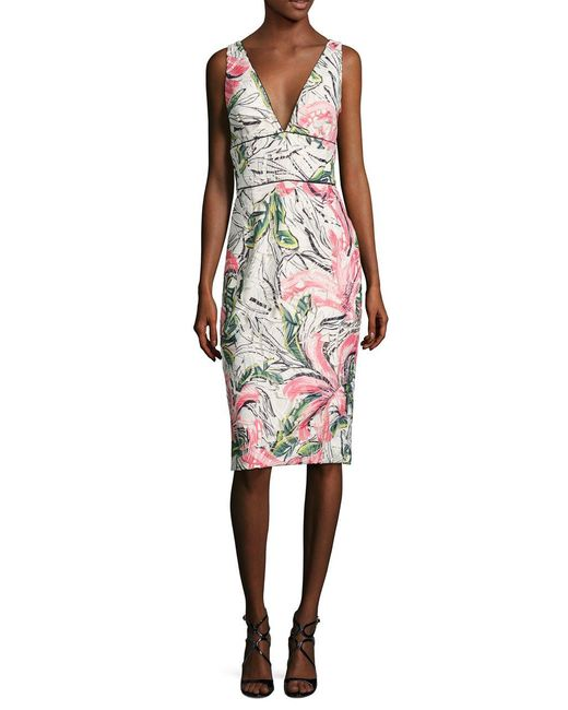 Kay Unger | White Sleeveless Floral Cocktail Dress | Lyst