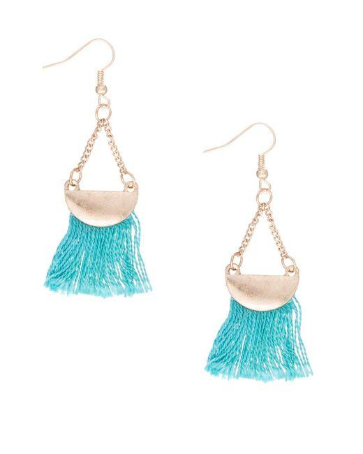 Lord & Taylor   Blue Tassel Half-moon Drop Earrings   Lyst