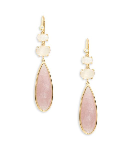 Tai   Pink Faceted Stone Drop Earrings   Lyst