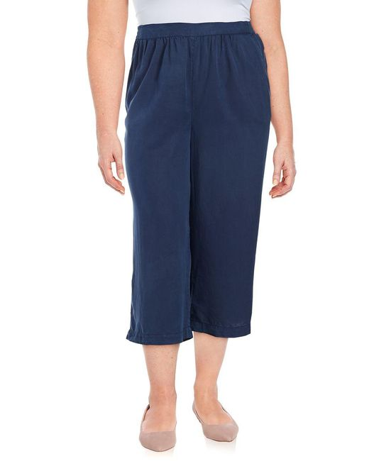 B Collection By Bobeau | Blue Plus Cropped Wide-leg Pants | Lyst