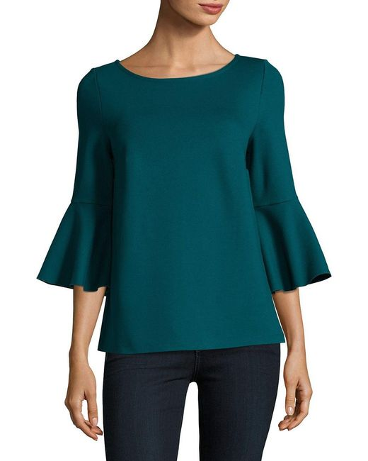 Lord & Taylor   Blue Knit Bell-sleeve Top   Lyst