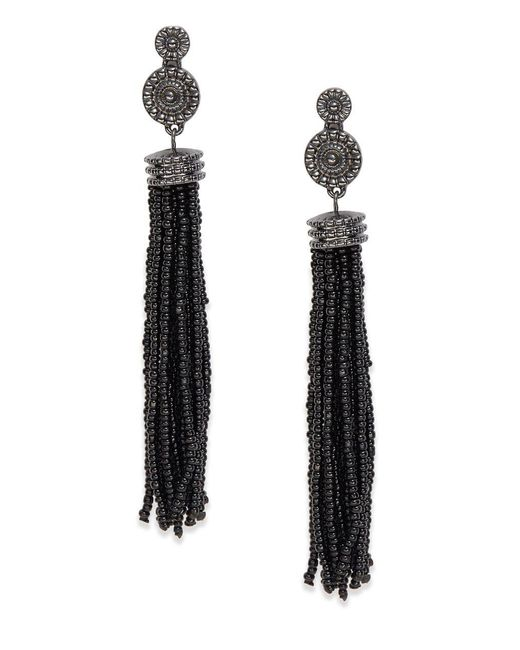 Lord & Taylor | Black Beaded Tassel Earrings | Lyst