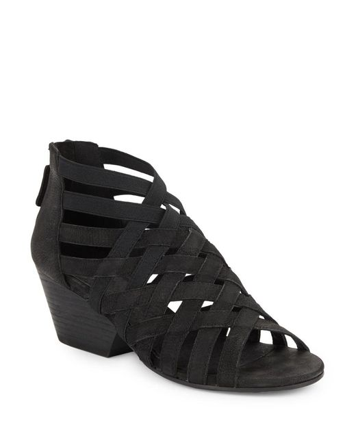 Eileen Fisher   Black Oodle Nubuck Cross Strapped Stacked Wedge Sandals   Lyst