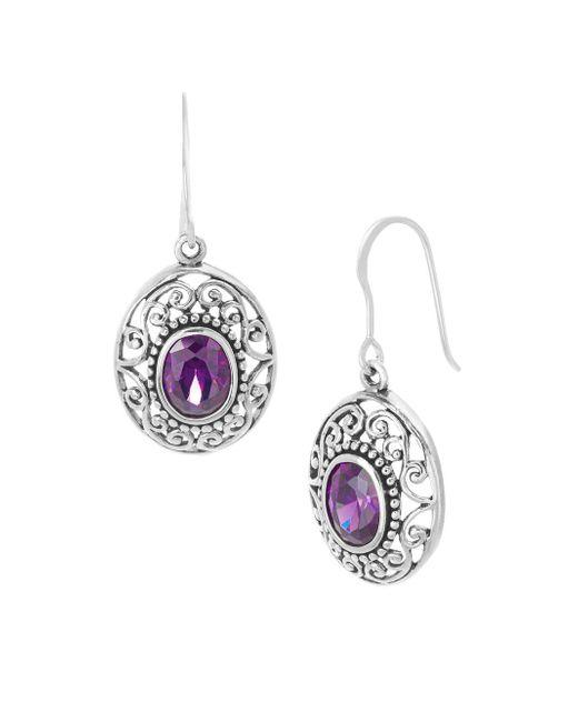 Lord & Taylor - Purple 925 Sterling Silver & Crystal Drop Earrings - Lyst