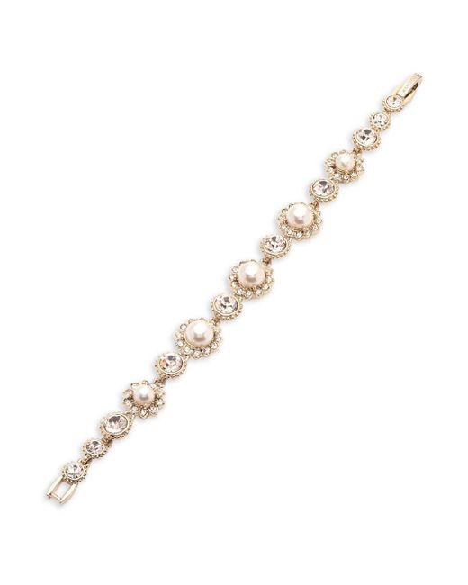 Marchesa - Metallic Gold-tone Imitation Pearl & Crystal Link Bracelet - Lyst