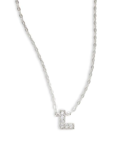 Nadri - Metallic Sterling Silver L Initial Necklace - Lyst