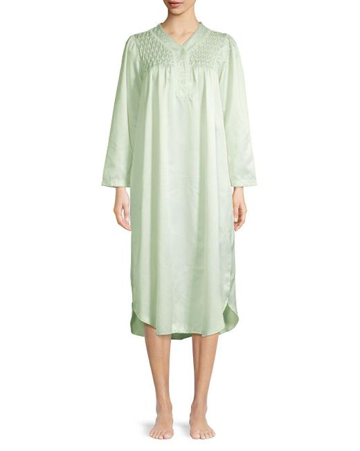 36d735c16d Miss Elaine - Green Smocked Long-sleeve Long Gown - Lyst ...