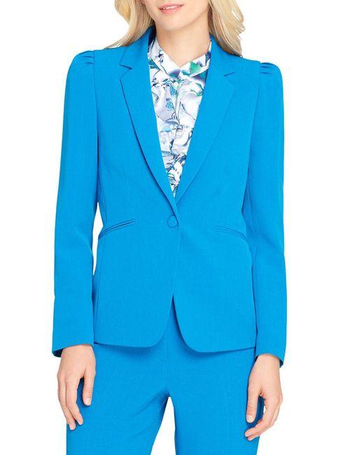 Tahari - Blue Shoulder-pleat Crepe Jacket - Lyst