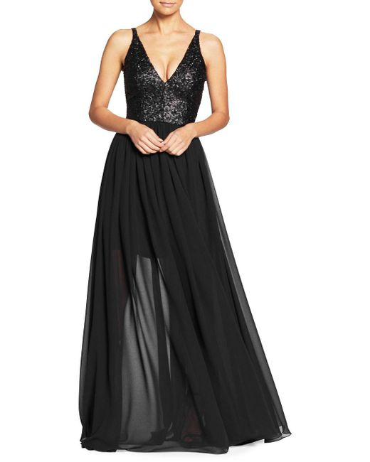 Dress the Population - Black Lori Sequined Evening Gown - Lyst