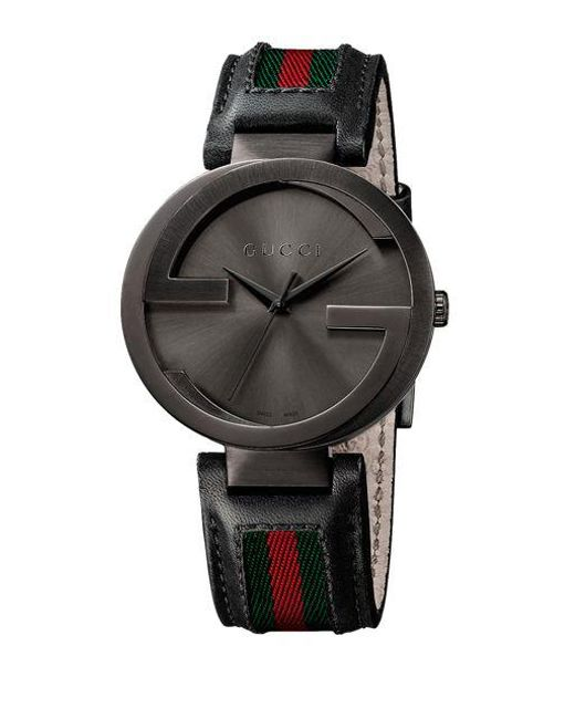 e725c52749cad Gucci Interlocking G Black Pvd Watch in Metallic for Men - Save ...