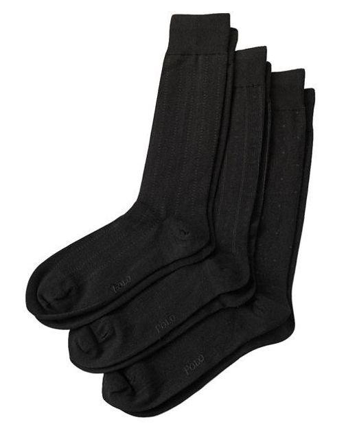 Polo Ralph Lauren - Black Assorted Socks/3-pack for Men - Lyst