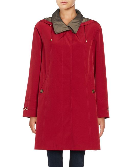 Gallery - Red Removable Hood Rain Coat - Lyst