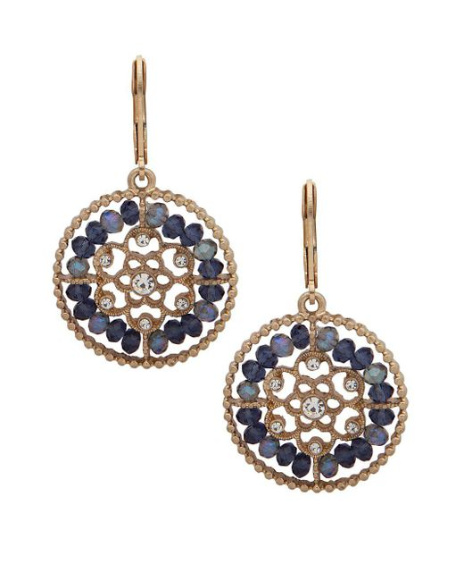 Lonna & Lilly - Blue Goldtone Filigree Crystal Drop Earrings - Lyst