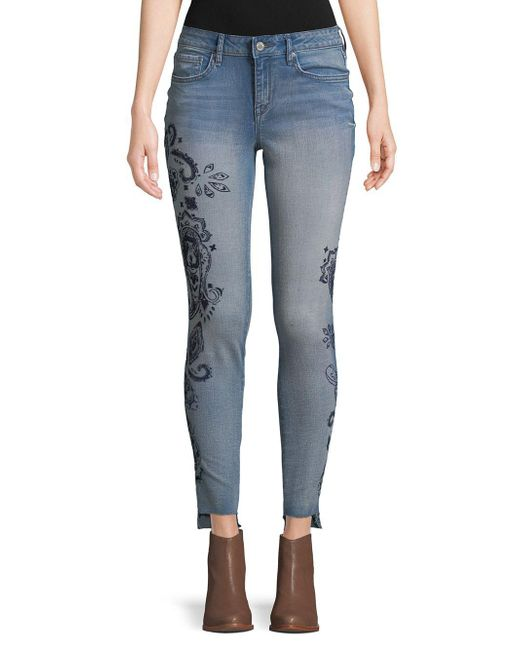 William Rast - Blue Distressed Skinny Jeans - Lyst