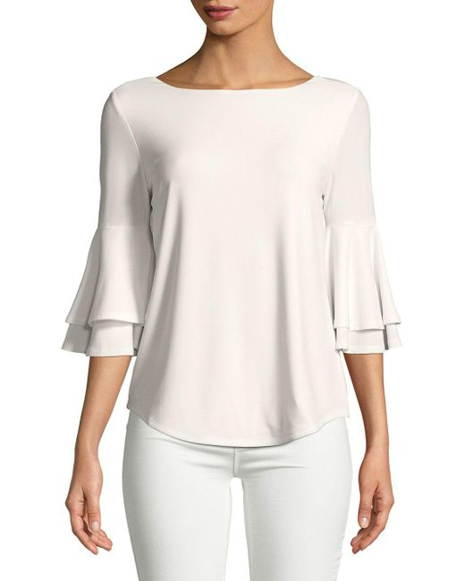Lord & Taylor - White Three-quarter Bell-sleeve Blouse - Lyst