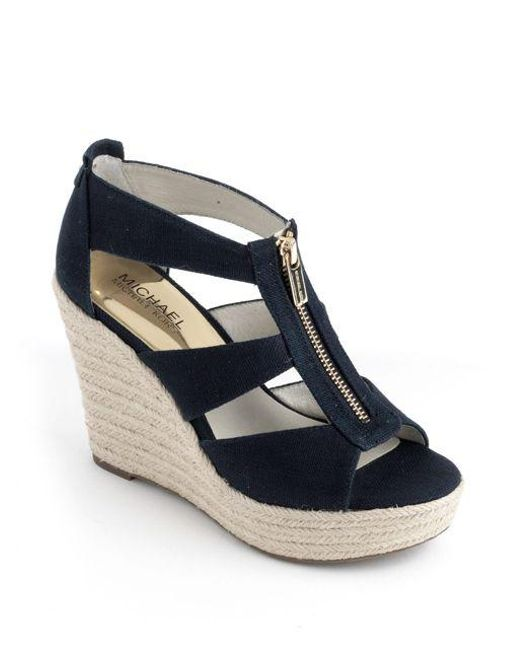 62cea799e41 Lyst - Michael Michael Kors Damita Canvas Espadrille Wedges in Blue