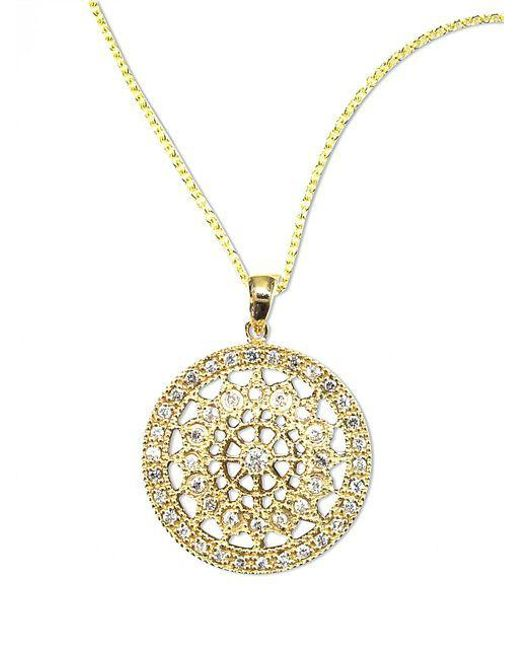 Effy - Metallic D Oro 14 Kt Gold Diamond Pave Medallion Pendant Necklace - Lyst