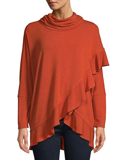Lord & Taylor - Orange Ruffle Cowlneck Top - Lyst