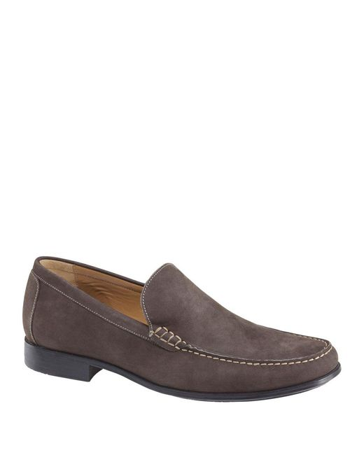 Johnston & Murphy - Gray Cresswell Venetian Nubuck Loafers for Men - Lyst