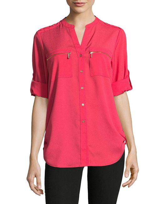 Calvin Klein | Multicolor Roll-sleeve Blouse | Lyst