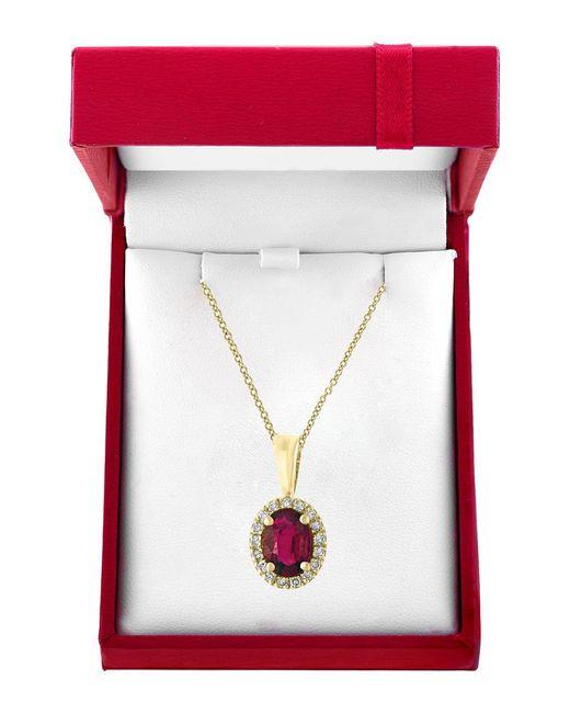 Effy - Metallic Amore 0.07tcw Diamonds And 14k Yellow Gold Ruby Pendant Necklace - Lyst