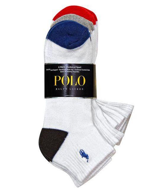 Polo Ralph Lauren - White Heel Toe Arch Support Quarter Socks Set for Men - Lyst