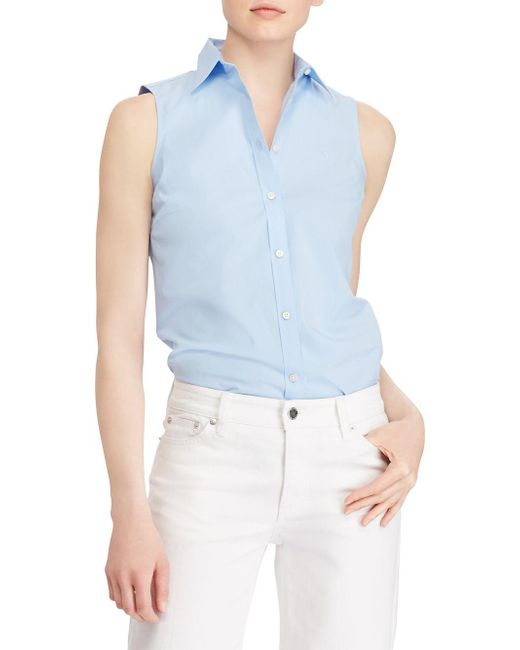 Lauren by Ralph Lauren - Blue Stretch Sleeveless Button-down Shirt - Lyst