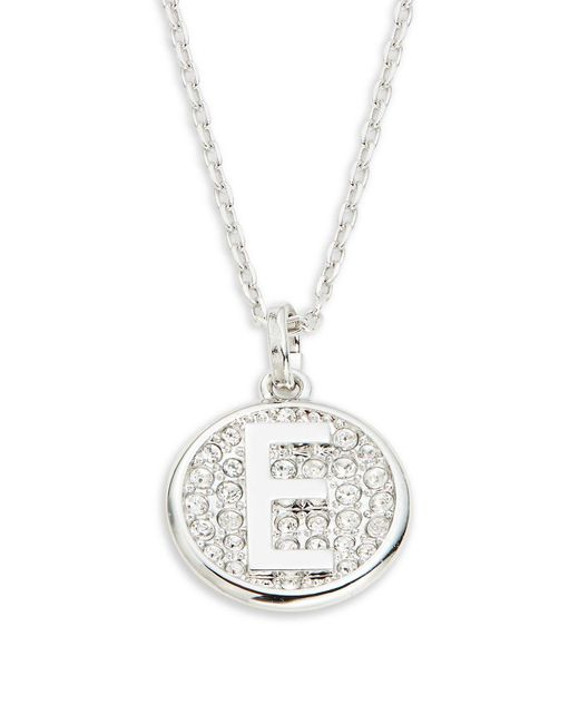 Swarovski - Metallic Clear Pavé Crystal Medallion Letter Pendant Necklace - Lyst