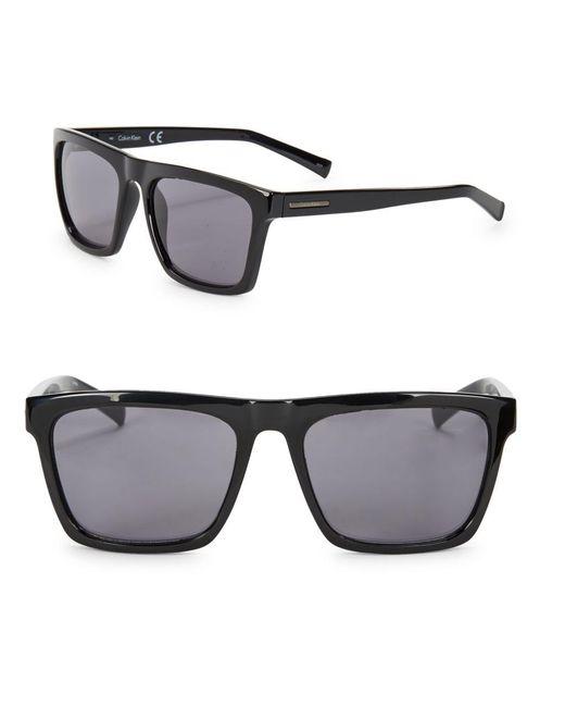 CALVIN KLEIN 205W39NYC - Black 57mm Square Sunglasses for Men - Lyst
