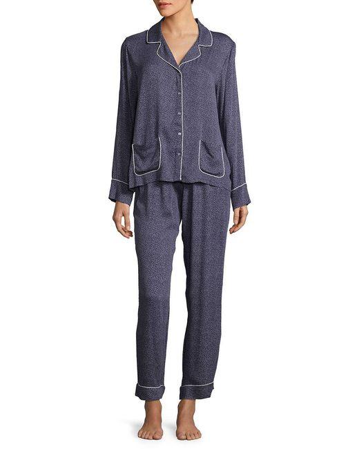 Splendid - Black Polka-dot Notch Long Sleeve Pajamas - Lyst