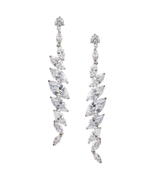 Nina - Metallic Silver-tone Crystal Linear Drop Earrings - Lyst