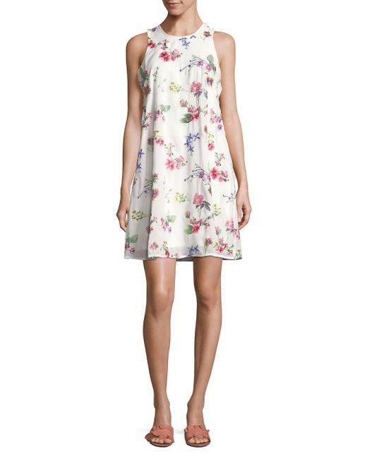 CALVIN KLEIN 205W39NYC - White Floral Sleeveless Mini Dress - Lyst