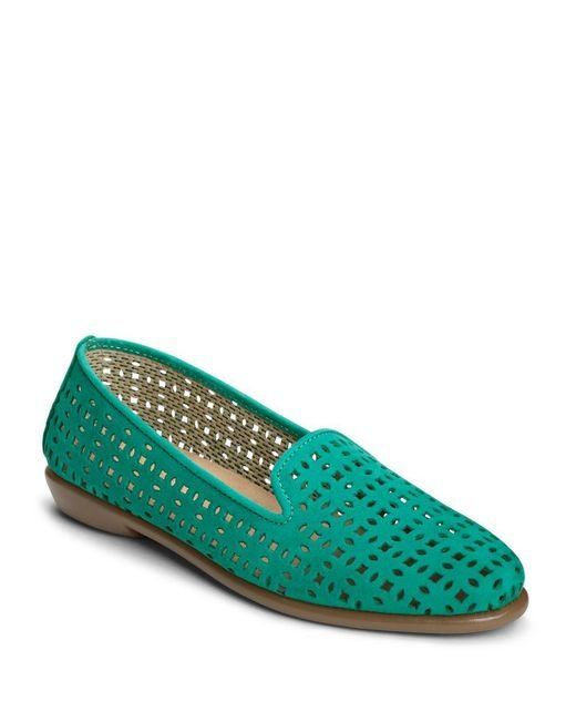 Aerosoles - Green Cutwork Leather Loafers - Lyst