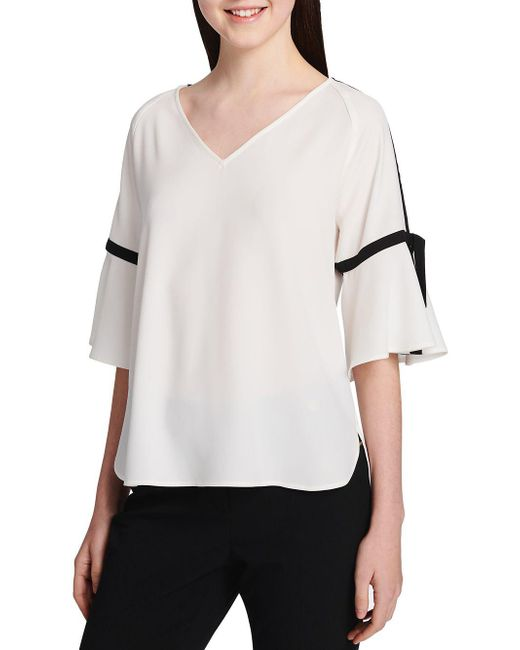 CALVIN KLEIN 205W39NYC - White Contrast Trim Short-sleeve Top - Lyst
