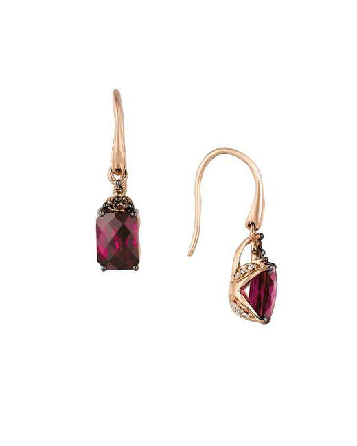 6a1f595c2e3b7 Women's Red 14k Strawberry Gold? Raspberry Rhodolite? Vanilla Dimaonds? &  Chocolate Diamonds? Earrings