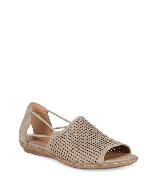 Earth - Brown Shelly Perforated Cutout Nubuck Leather Sandals - Lyst