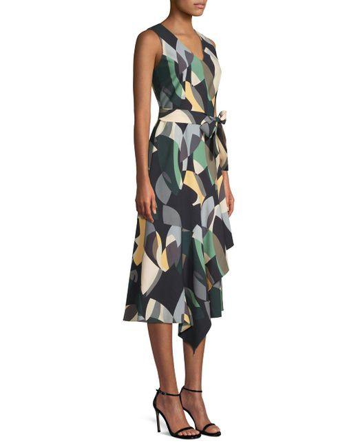 Lafayette 148 New York - Black Printed Belted Dress - Lyst