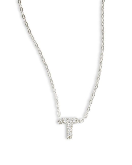 Nadri - Metallic Sterling Silver T Initial Necklace - Lyst