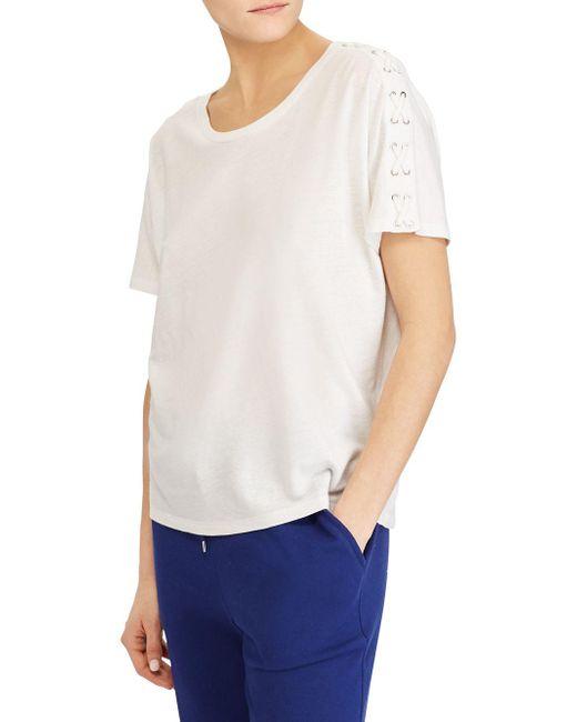 Lauren by Ralph Lauren - White Lace-up Short-sleeve Tee - Lyst