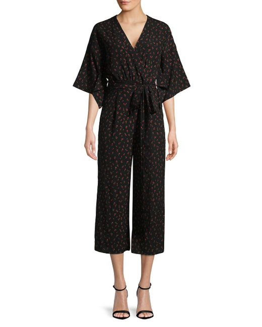 Kensie - Black Floral Printed Wrap Jumpsuit - Lyst