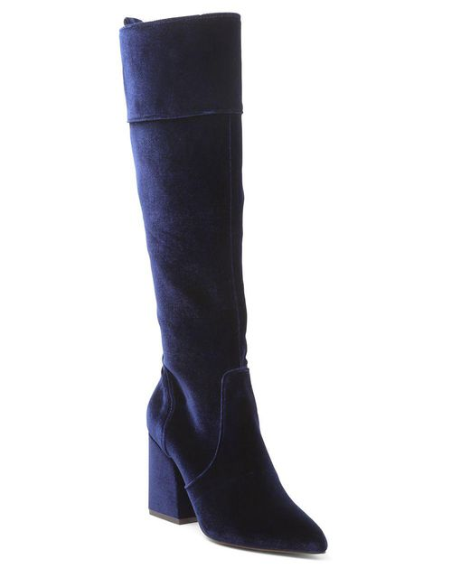 Kensie - Blue Talbert Velvet Tall Boots - Lyst