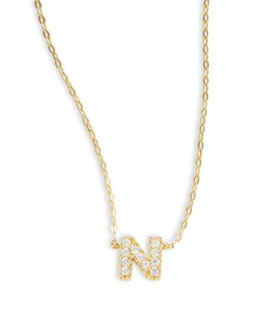 Nadri - Metallic Sterling Silver N Initial Necklace - Lyst