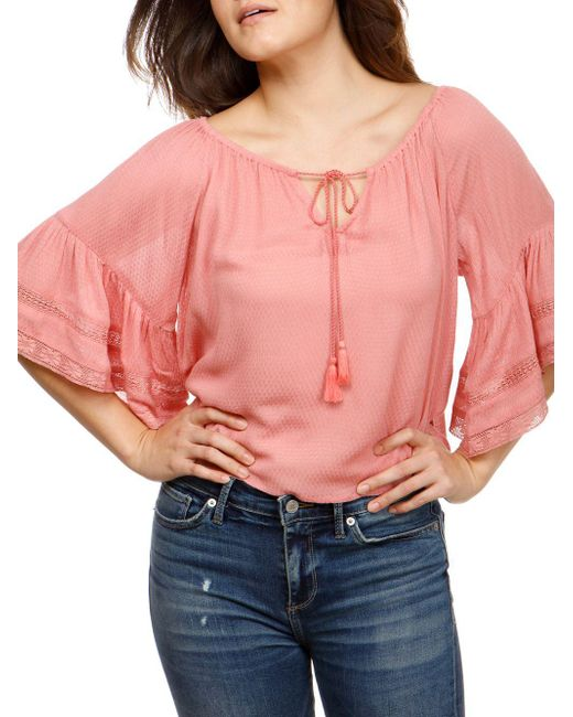 Lucky Brand - Pink Bell-sleeve Self-tie Top - Lyst