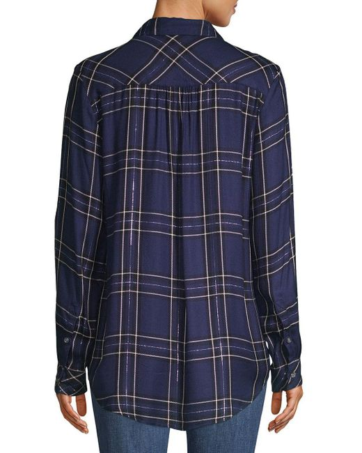 091813e22699 ... Lyst Lord & Taylor - Blue Plaid High-low Button-down Shirt ...