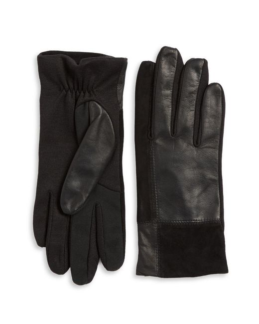 Lord & Taylor - Black Mixed Media Tech Gloves - Lyst