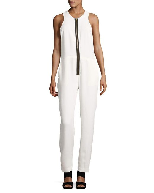 Artistix   White Tapered Zip Front Jumpsuit   Lyst