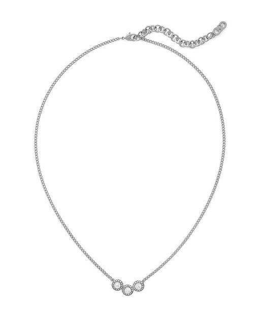 Cole Haan - Metallic Cubic Zirconia Rhodium-plated Brass Necklace - Lyst