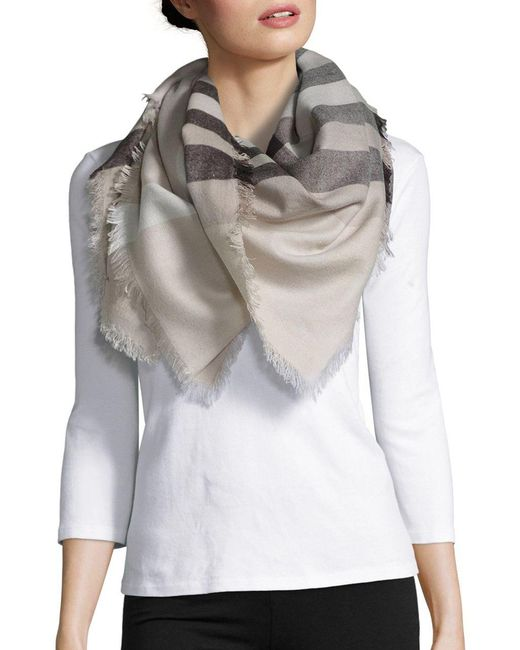 Lord & Taylor - Gray Plaid Blanket Scarf - Lyst