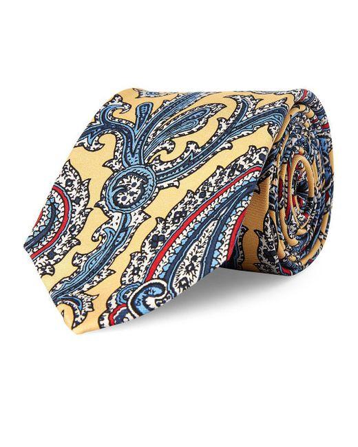 Lauren by Ralph Lauren - Yellow Paisley Silk Tie for Men - Lyst